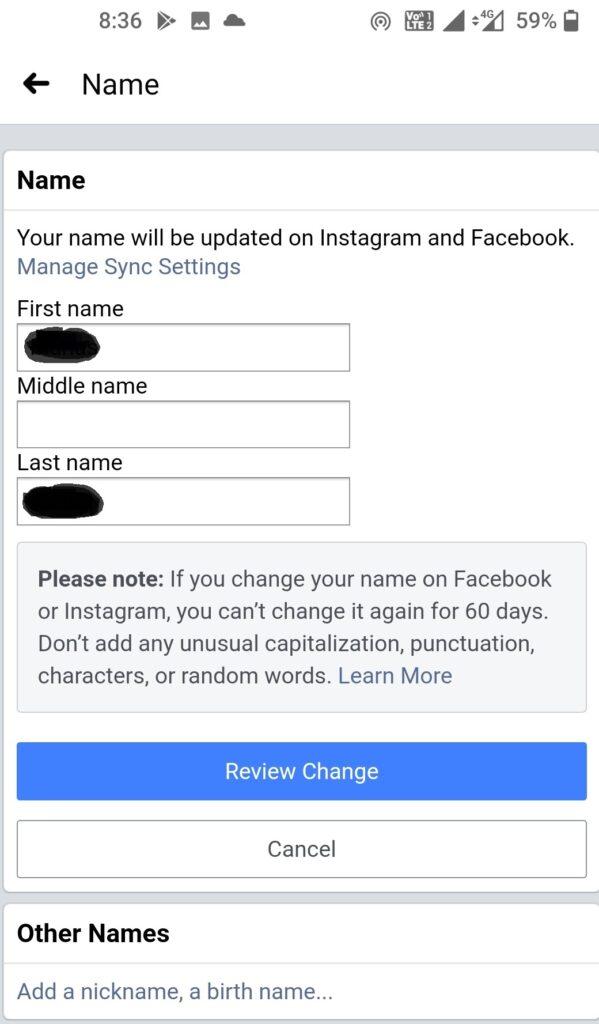 Modify-Your-Name-On-Facebook- Mobile-App-generalnewsflash